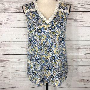 Style & Co  Top Floral Sleeveless Crochet Accent